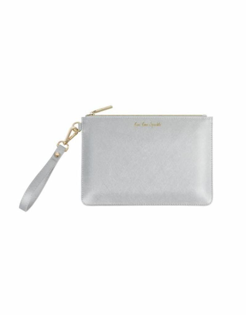 KATIE LOXTON *KLB364 SECRET MESSAGE POUCH - LIVE LOVE SPARKLE/A REMINDER TO LIVE LOVE SPARKLE EVERY DAY - METALLIC