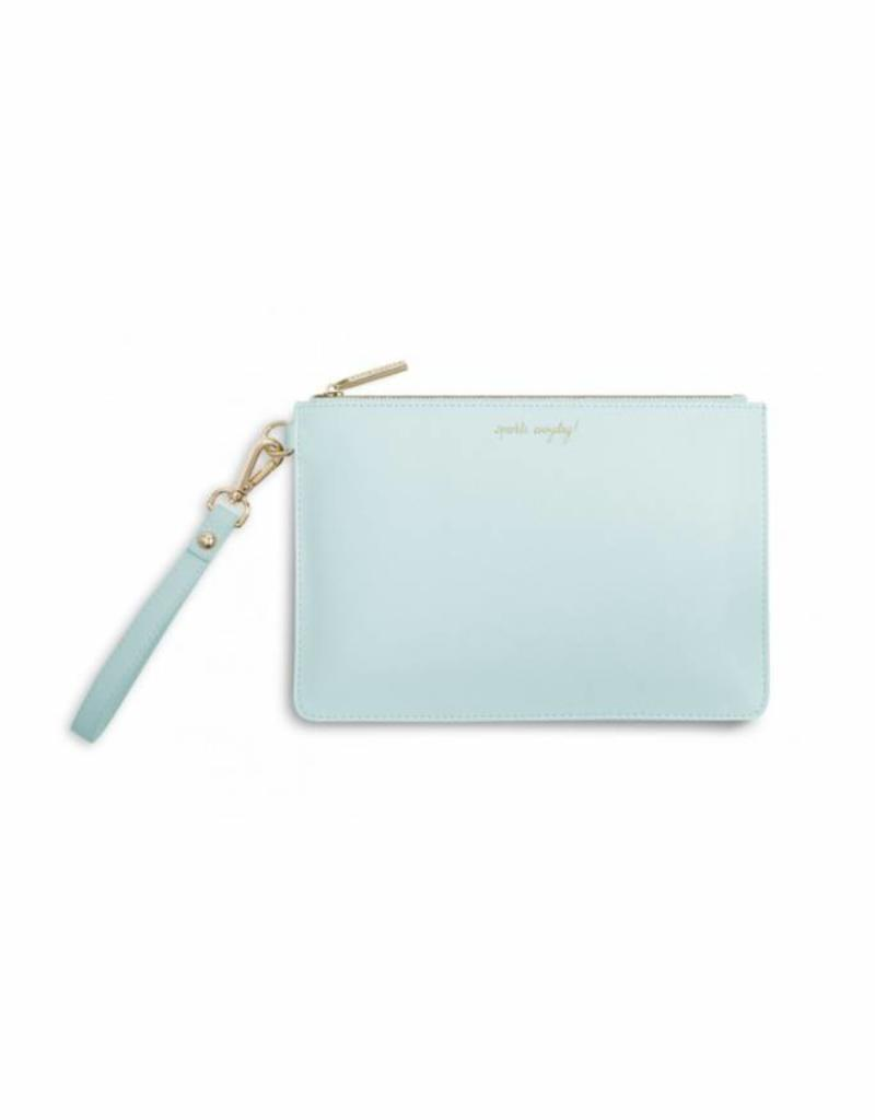 KATIE LOXTON KLB256 SECRET MESSAGE POUCH - SPARKLE EVERYDAY/LEAVE A LITTLE SPARKLE WHEREVER YOU GO! - CORNFLOUR BLUE - 16X24CM