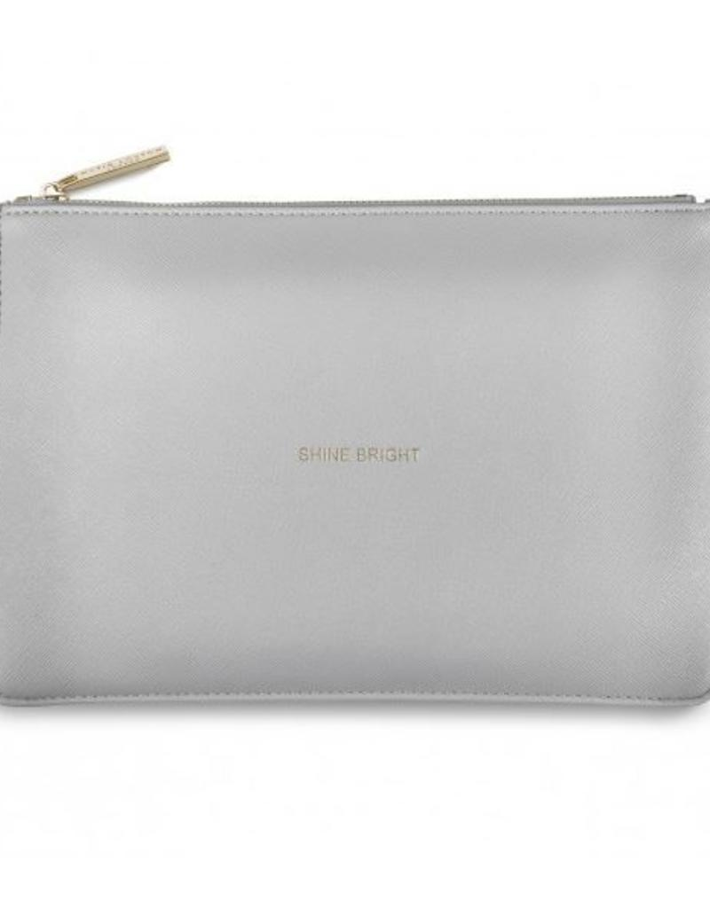 KATIE LOXTON *KLB365 SECRET MESSAGE POUCH - SHINE BRIGHT/SHINE BRIGHT LIKE THE STAR YOU ARE! - METALLIC CHARCOAL