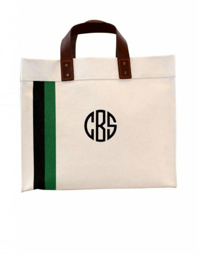 Monogrammed Small Square Striped Tote