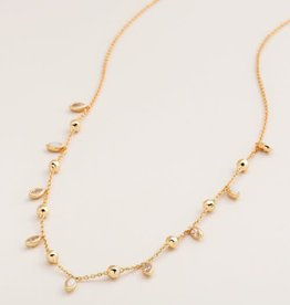 GORJANA 185-114-160 -G Rumi Confetti Adjustable Necklace (white cz / white opalite) (gold)