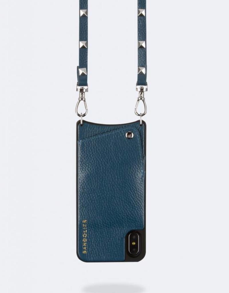 BANDOLIER Sarah Pebble Leather Crossbody Bandolier - Sapphire/Silver Iphone X