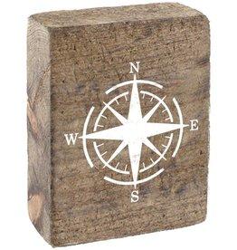 RUSTIC MARLIN Rustic Block Compass - Natural, White