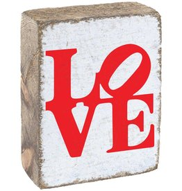 RUSTIC MARLIN Rustic Block Stacked Love - White, Red