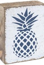 RUSTIC MARLIN Rustic Block Pineapple - White, Navy