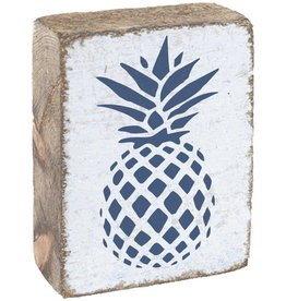 RUSTIC MARLIN Rustic Block Pineapple - White, Navy