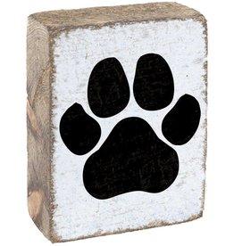 RUSTIC MARLIN Rustic Block Paw Print - White, Black