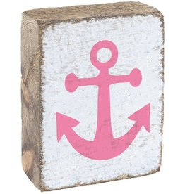 RUSTIC MARLIN Rustic Block Anchor - White, Pink