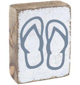 RUSTIC MARLIN Rustic Block Flip Flops - White, Victory Blue