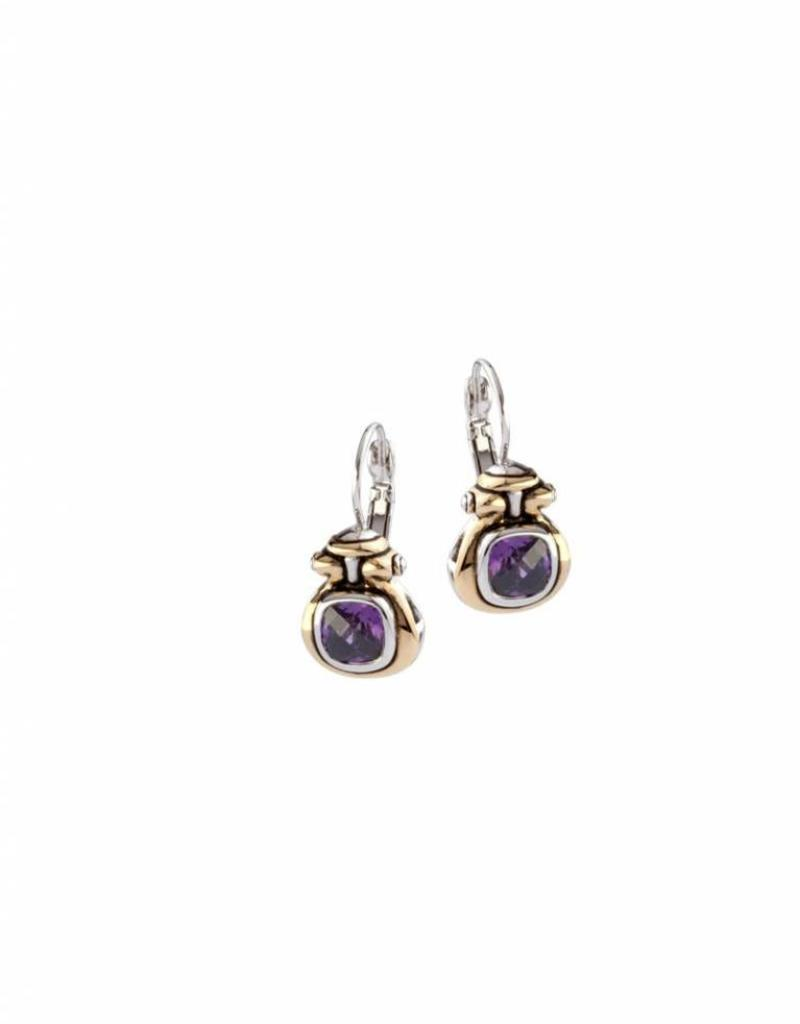 JOHN MEDEIROS F5093-A300 ANVIL CZ HORSESHOE EARRINGS AMETHYST