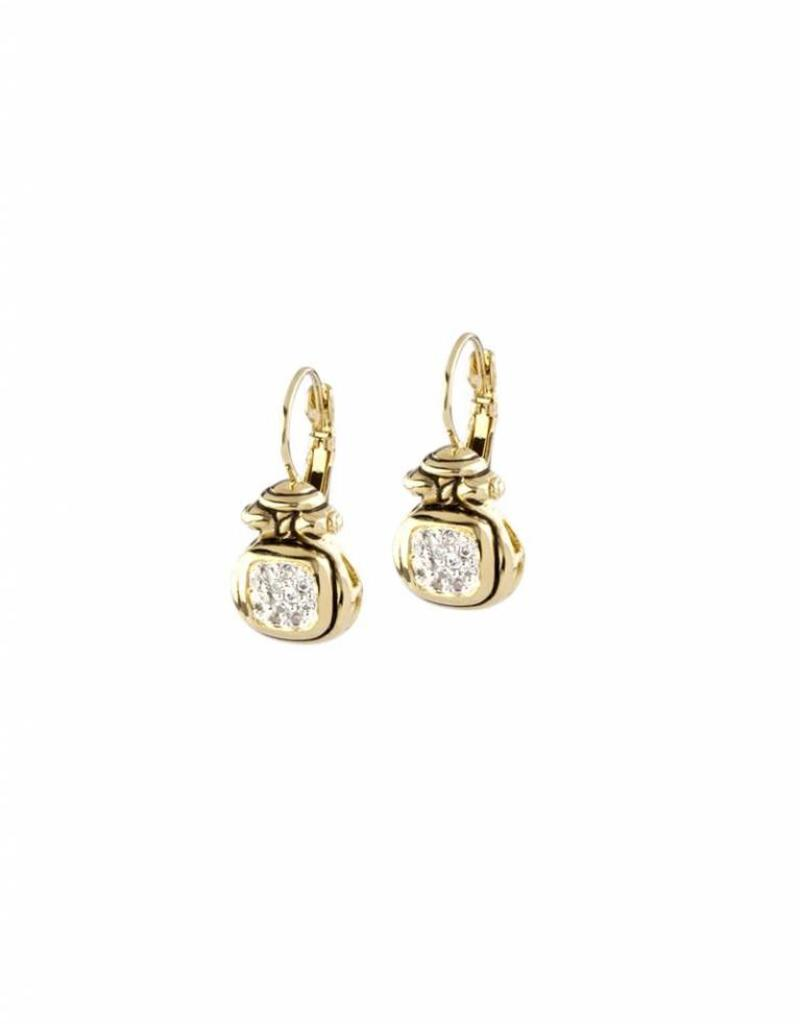 JOHN MEDEIROS F5103-GF00 ANVIL GOLD & PAVE FW EARRINGS