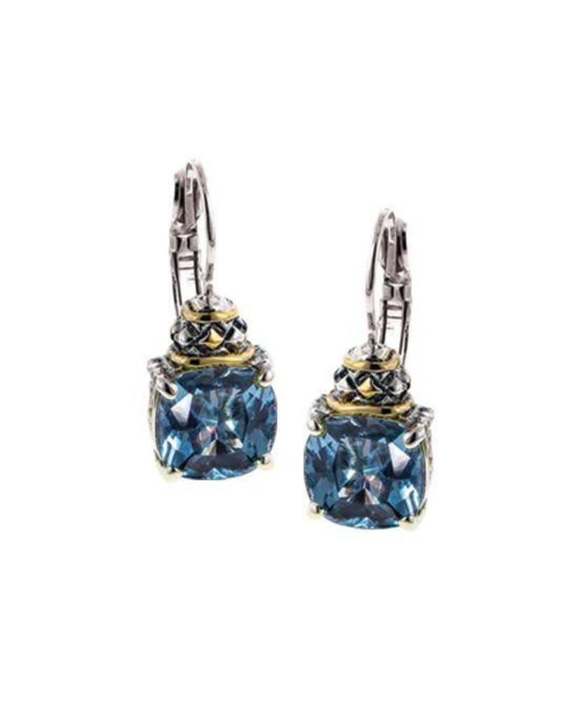 JOHN MEDEIROS F3521-A600 ANVIL AQUA SQ CUT WIRE/CLIP EARRINGS