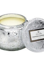 VOLUSPA 7265 YASHIOKA GARDENIA EMBOSSED GLASS CANDLE