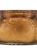 VOLUSPA 7263 BALTIC AMBER EMBOSSED GLASS CANDLE
