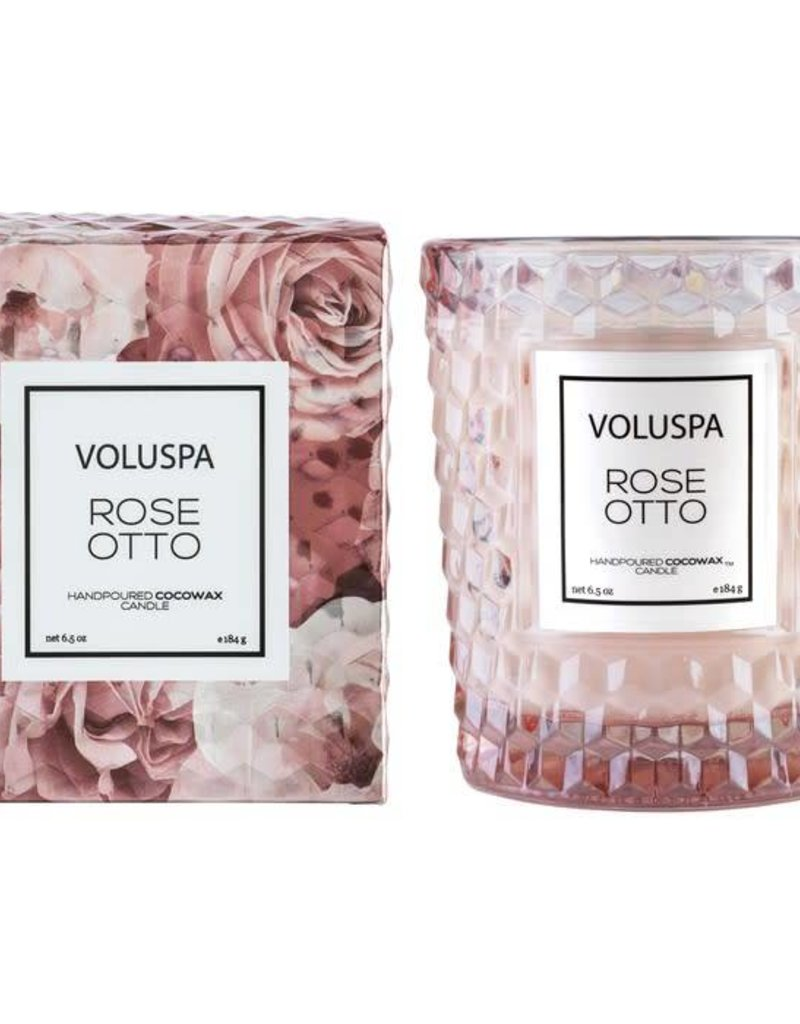 VOLUSPA 5311 ROSE OTTO CLASSIC CANDLE IN TEXTURED GLASS CANDLE