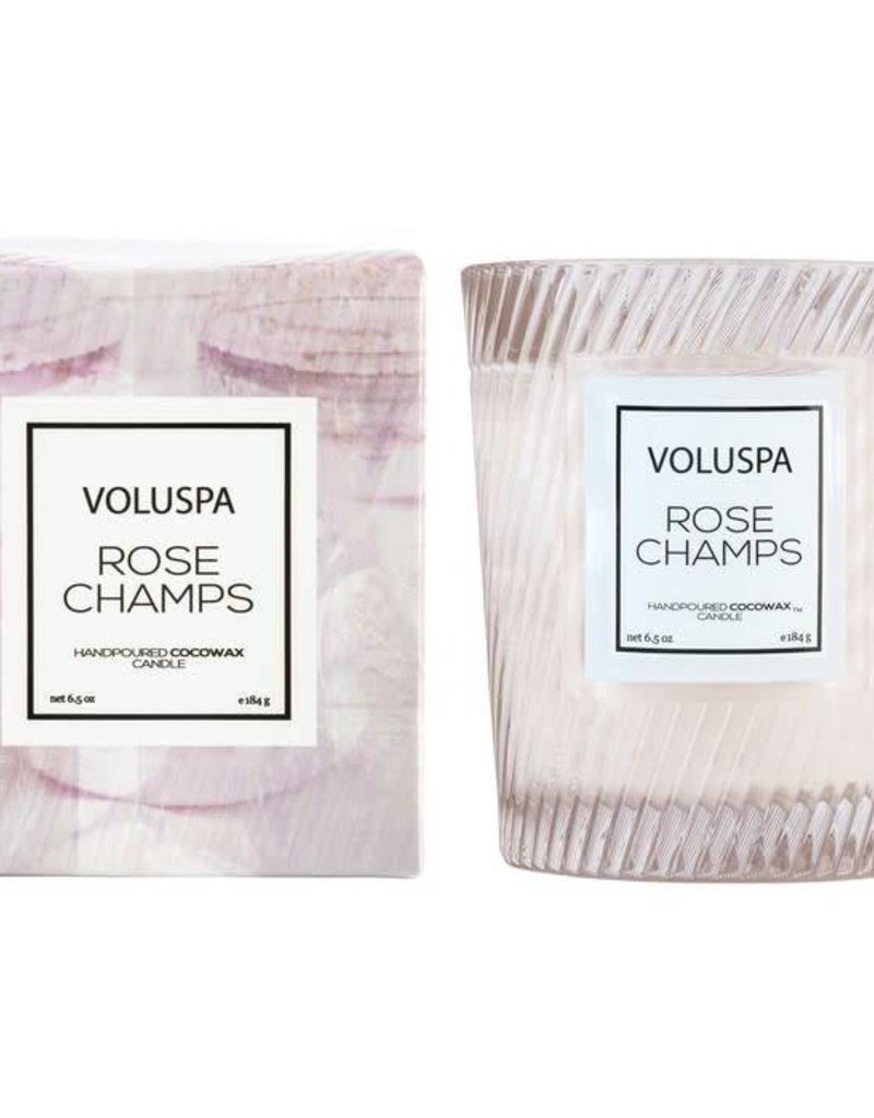 VOLUSPA 5413 ROSE CHAMPS CLASSIC CANDLE IN TEXTURED GLASS CANDLE