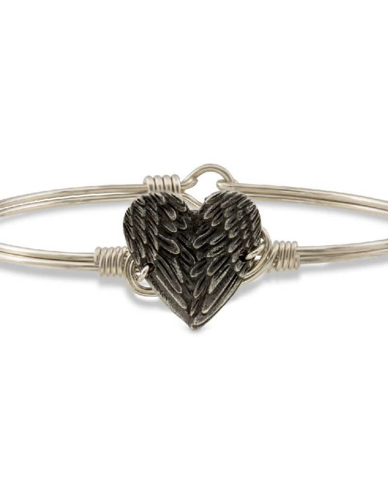 LUCA AND DANNI STC373S ANGEL WING HEART ON SILVER WIRE WRAPPED BRACELET