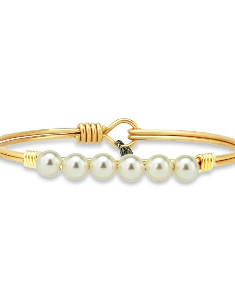 LUCA AND DANNI STC107 WHITE PEARL BEAD ON BRASS OX WIRE WRAPPED BRACELET