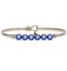 LUCA AND DANNI STC472S LAPIS BLUE PEARL ON LARGE SILVER ON WIRE WRAPPED BRACELET