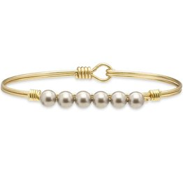 LUCA AND DANNI STC272 PLATINUM PEARL BEAD ON BRASS OX WIRE WRAPPED BRACELET