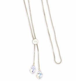 LUCA AND DANNI NK157S CRYSTAL AB BAROQUE NECKLACE 32 SILVER