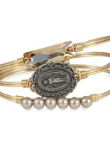 LUCA AND DANNI STC153 MOTHER MARY ON BRASS OX WIRE WRAPPED BRACELET