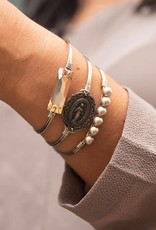 LUCA AND DANNI STC153S/SM MOTHER MARY ON SILVER WIRE WRAPPED BRACELET SZ SMALL