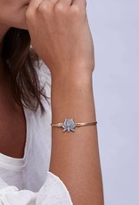 LUCA AND DANNI STC594S LOTUS FLOWER NEW BRACELET SILVER TONE REGULAR