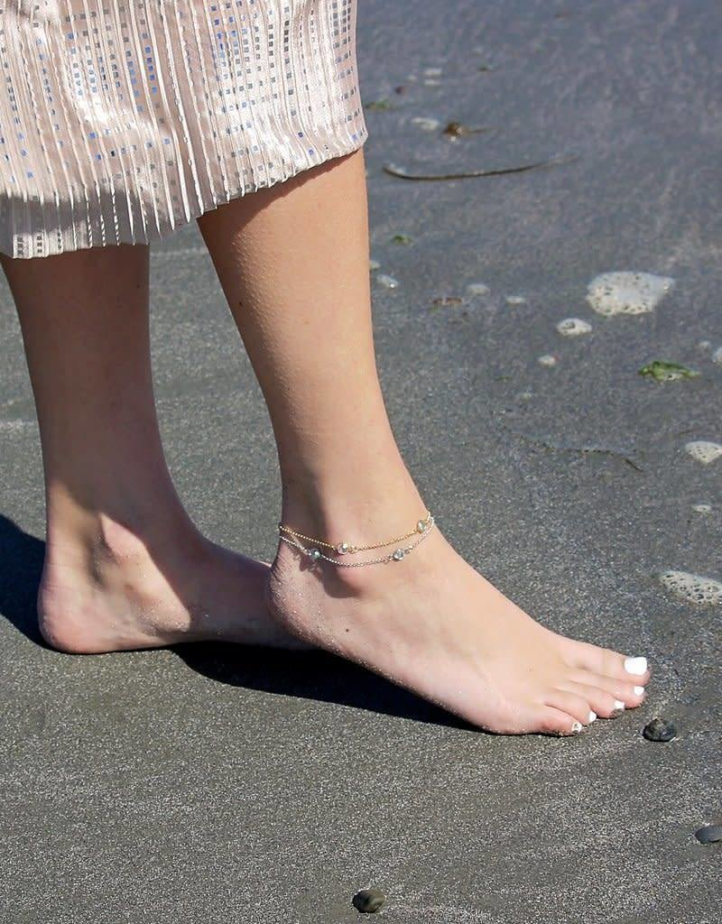 LUCA AND DANNI ANK101S CRYSTAL ANKLET SILVER