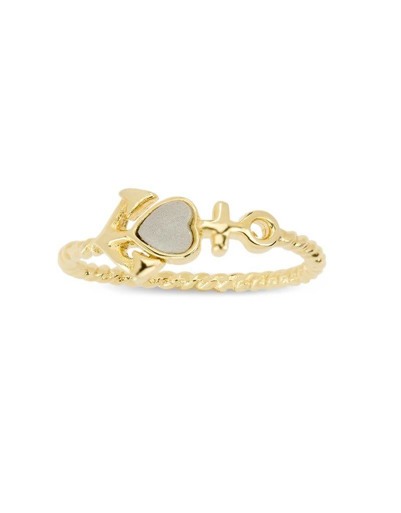 LUCA AND DANNI RG108G7 ANCHOR RING GOLD SIZE 7