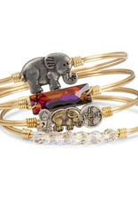 LUCA AND DANNI STC430S/SM SMALL ELEPHANT ON SILVER WIRE WRAPPED BRACELET SZ SMALL