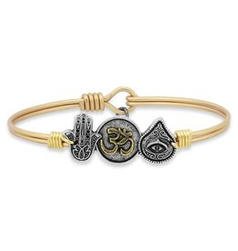 LUCA AND DANNI STC457S HAMSA, OHM, EVIL EYE ON SILVER WIRE WRAPPED BRACELET