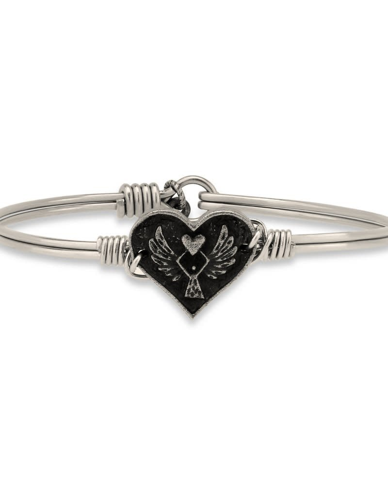 LUCA AND DANNI STC414S ANGEL HEART ON SILVER WIRE WRAPPED BRACELET