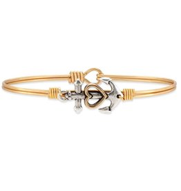 LUCA AND DANNI STC388 ANCHOR ON BRASS OX WIRE WRAPPED BRACELET