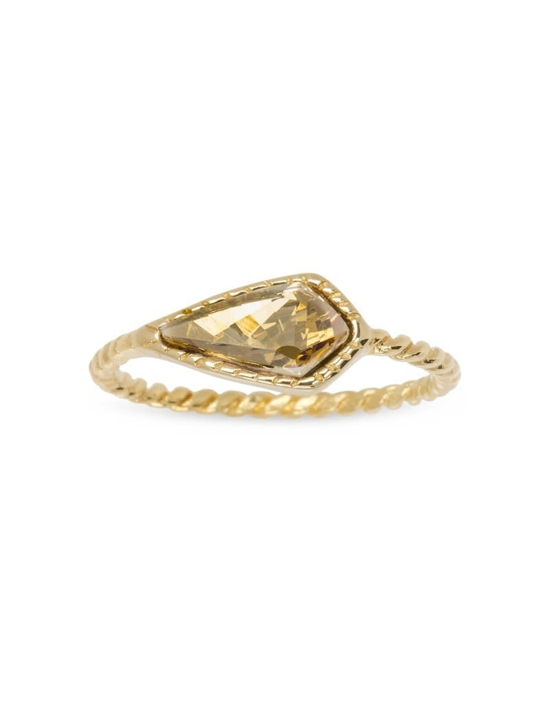 LUCA AND DANNI RG106G8 CHAMPAGNE SLOANE RING GOLD SIZE8