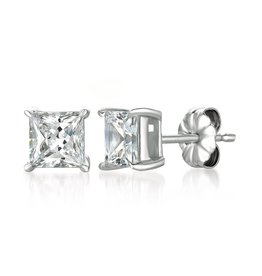 CRISLU 902389E00CZ SSP 2.50 CTTW Solitaire Princess Earrings Finished in Pure Platinum - 2.5 Carat