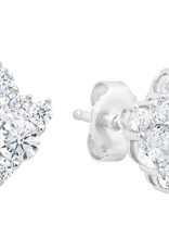 CRISLU 9011009E00CZ Cluster Stud Earrings Finished in Pure Platinum