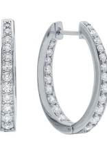 CRISLU 9010263E00CZ Hinge Hoop Earrings Finished in Pure Platinum