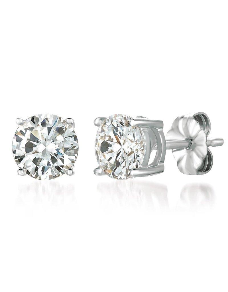 CRISLU 900166E00CZ Solitaire Brilliant Earrings Finished in Pure Platinum- 2.00 Cttw