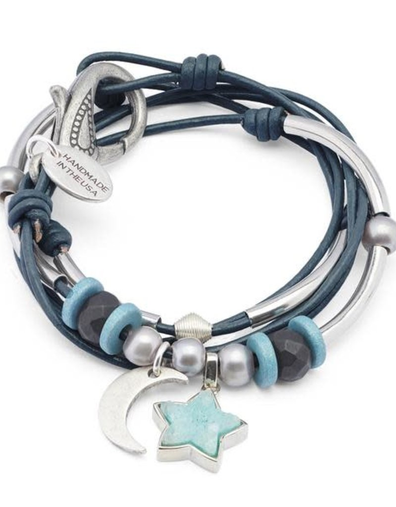 LIZZY JAMES ESSIE GLOSS TURQUOISE SILVER LARGE MOON AND DRUZY STAR