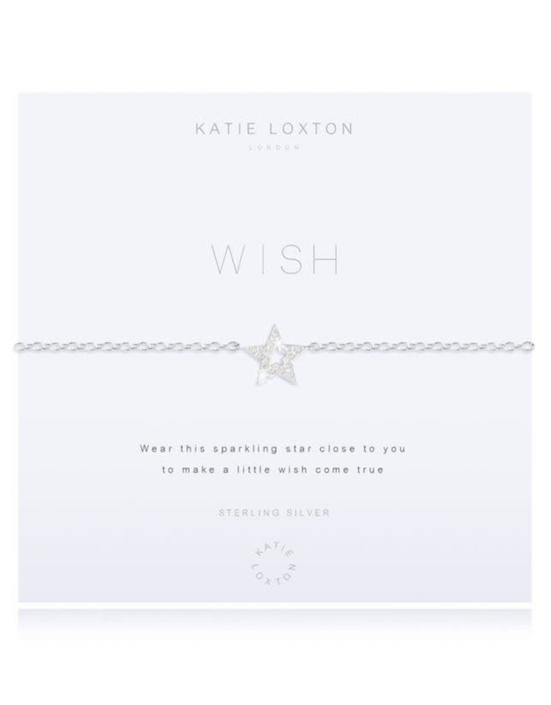 KATIE LOXTON KLJ2603 ''SENTIMENT MESSAGE - HAPPY - SILVER CHAIN WITH ''''HAPPY'''' WORD AND ADJUSTING SLIDER - BRACELET''