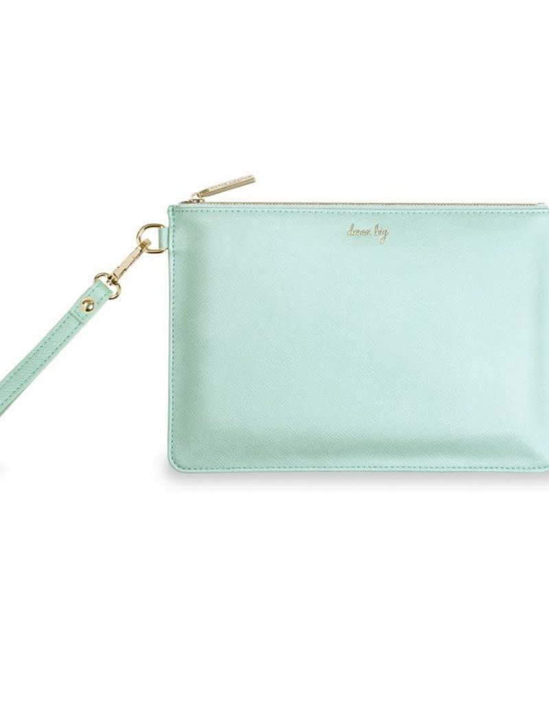 KATIE LOXTON KLB518 SECRET MESSAGE POUCH - DREAM BIG/IF YOU DREAM IT YOU CAN DO IT! - METALLIC MINT - 16X24CM