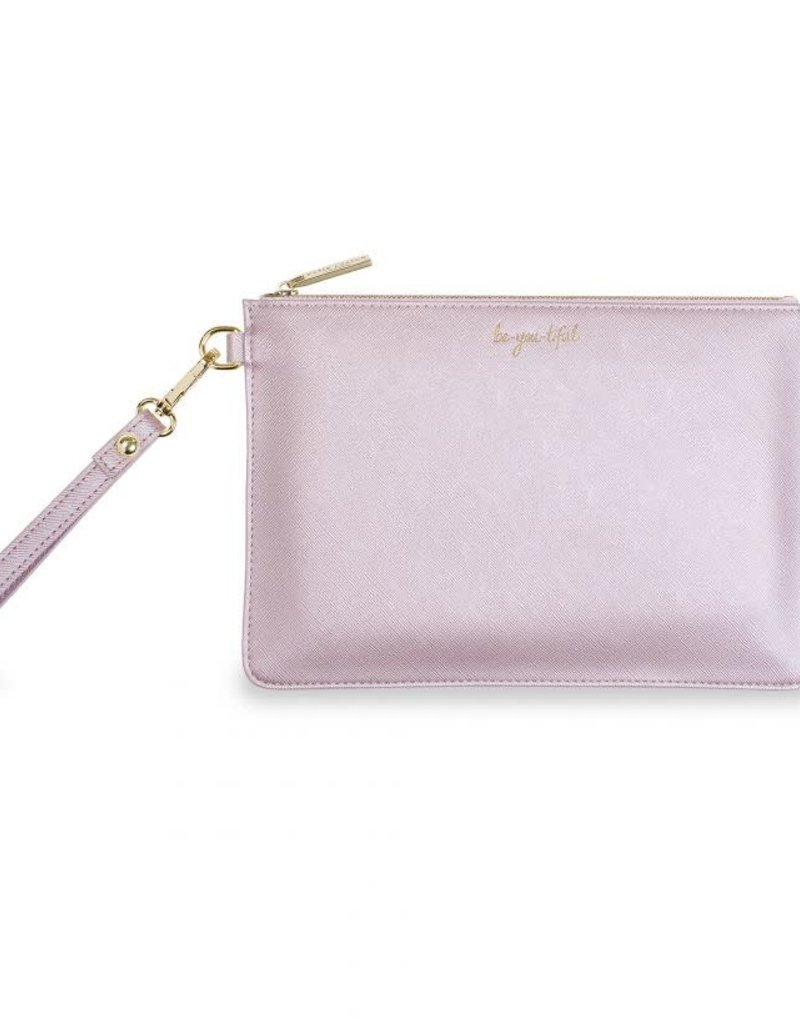 KATIE LOXTON KLB522 SECRET MESSAGE POUCH - BE-YOU-TIFUL/BE YOUR OWN KIND OF BEAUTIFUL - METALLIC LILAC - 16X24CM