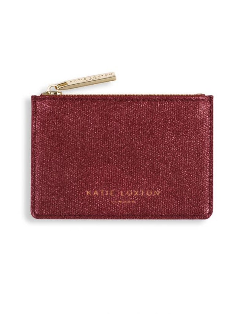 KATIE LOXTON KLB417 ALEXA METALLIC CARD HOLDER WITH SMALL ZIP FOR COINS - SHINY RED