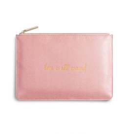 KATIE LOXTON KLB353 PERFECT POUCH - LOVE IS ALL AROUND - PINK SHIMMER - 16X24CM