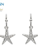 SHANORE SS Drop Star Fish White Crystal Earrings