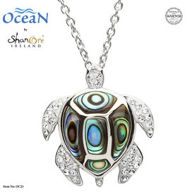 SHANORE SS TURTLE NECKLACE WITH WHITE CRYSTALS