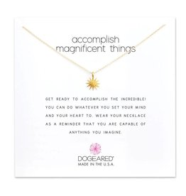 """DOGEARED Accomplish magnificent things, starburst necklace, 16"""" w/2"""" extender"""