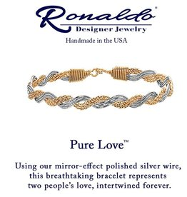 RONALDO B317GSE0650 PURE LOVE BRACELET 14K GOLD ARTIST WIRE WITH MIRROR SILVER