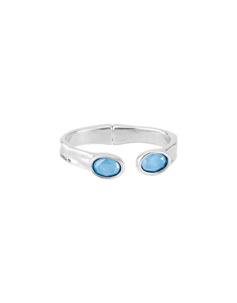UNO DE 50 PUL1818AZCMTL0M Rigid bracelet in metal clad with silver and SWAROVSKI® ELEMENTS.
